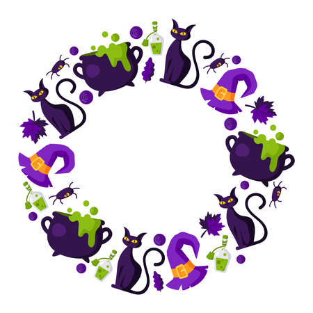 Halloween cartoon round frame with elements - scary black withes cat, cauldron and bottle with potion, candy, autumn leaf, spider and withes hat - traditional holiday symbols - isolated vector 矢量图像