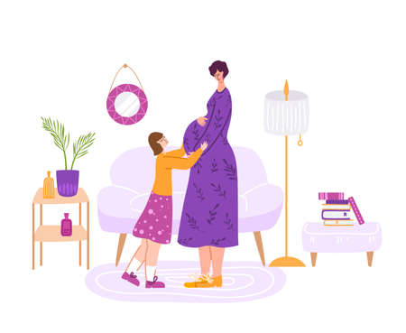 Pregnancy and motherhood concept - happy pregnant woman waiting for a baby. Mom and little daughter in cozy room indoor, girl is expecting baby - Vector illustration for card, poster and more