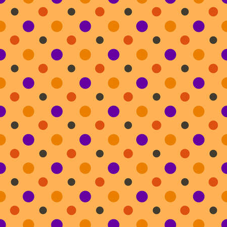 Halloween simple abstract seamless pattern in traditional holiday colors, polka dot no orange background - vector seamless background for textile, covers, cards