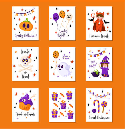 Halloween cartoon greeting card or nursery poster set - pumpkin lantern, kids in carnival costumes, magic creatures, ghost, skull, sweets, copy space for your text, pre-made vector template for print