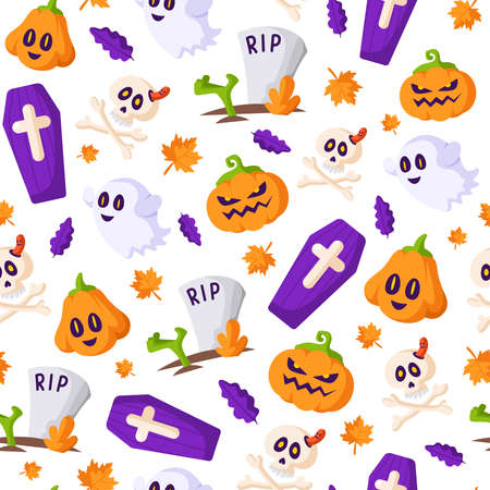 Halloween cartoon pattern - scary pumpkin lantern, creepy ghost, skull and bones, coffin, grave and zombie hand, traditional holiday symbols - background for print Stock Illustratie