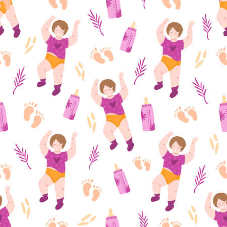 Motherhood and childhood theme seamless pattern - little baby, food prints, baby milk bottle, nipple, leaves and abstract elements on white background, endless texture for childish textile accessories