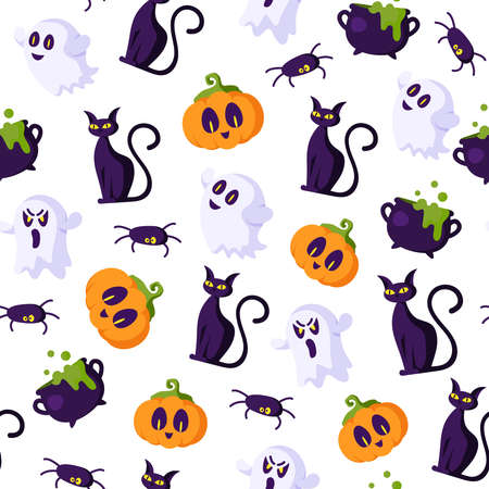 Halloween cartoon seamless pattern - creepy pumpkin lanterns with scary faces, ghost, black witches cat, cauldron, spider, traditional holiday symbols on white background, seamless texture Stock Illustratie