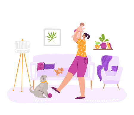 Happy motherhood or maternity concept - woman with her baby, holding a newborn in her arms. Yong mother and child, cute dog in cozy room indoors. flat cartoon female character - illustration Stock Illustratie
