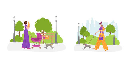 Happy motherhood or maternity concept - woman with little baby girl in sling bag and mother is walking with baby carriage in the park outdoors. flat cartoon female character - vector illustration set Vector Illustratie