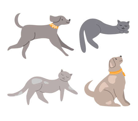 Domestic animals - dogs and cats isolated vector illustrations on white background, funny pets - puppy, kitten, kitty in various poses, cut out design elements Stock Illustratie