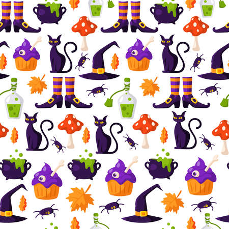 Halloween cartoon seamless pattern - scary creepy cake with eye, black cat, fly agaric mushroom, cauldron with potion - traditional holiday symbols, vector seamless background for textile or cover Stock Illustratie