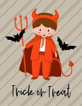 Halloween cartoon greeting card or nursery poster - baby boy in halloween red costume of devil or satan, black bats, copy space for your text, traditional holiday vector template