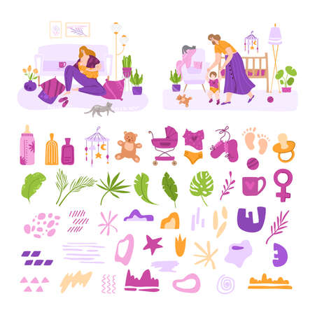 Breast feeding, motherhood, nursing and baby care concept - set of vector illustrations with young mothers and thematic and abstract help elements - toy, milk bottle, flat cartoon isolated vector