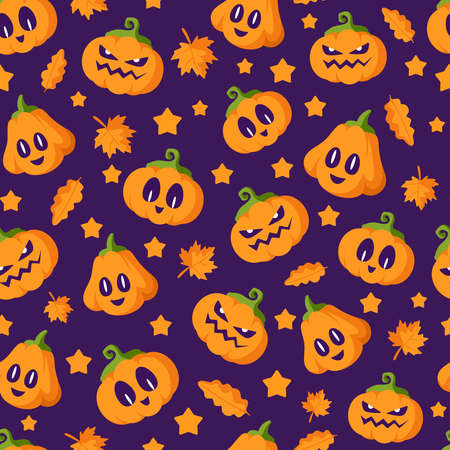 Halloween cartoon seamless pattern - creepy pumpkin lanterns with scary faces and autumn leaves, traditional holiday halloween symbols on dark violet background, vector seamless texture Stock Illustratie