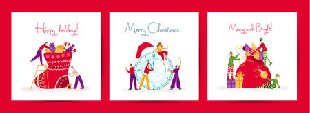 Christmas or New Year greeting cards set - miniature celebrating people and christmas Elves with holidays decorations - gifts, candies, santas bag, stocking, champagne, chimes - vector illustrations