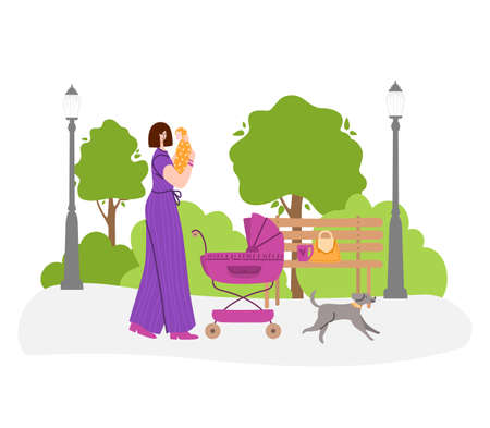 Happy motherhood or maternity concept - woman is holding a newborn in her arms. Yong mother is walking with baby carriage in the park outdoors. flat cartoon female character - vector illustration Stock Illustratie