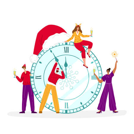 Christmas greeting card - miniature men and women are celebrating New Year midnight with champagne glasses, large clock with santas hat and people characters - vector composition for card or poster