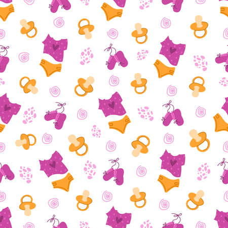 childhood or baby shower party theme seamless pattern - nipple, baby clothes, undershirt, diaper, booties on white background, endless texture for nursery textiles or scrapbook