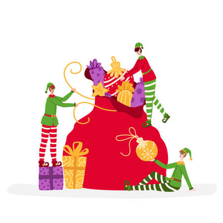 Greeting card - Christmas miniature Elves are packing large gift bag, characters and bright holidays objects like candies, gift boxes, decorative balls or toys - vector composition for card or poster
