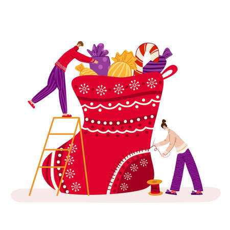 Christmas greeting card - miniature man and woman are making large christmas stocking with gifts, people characters or mom and dad in pajamas, holidays decorations - vector for card or poster