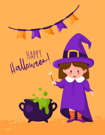 Halloween cartoon greeting card or nursery poster - baby girl in halloween costumes of witch, cauldron with potion, flags garland, copy space for your text, traditional holiday vector template Stock Illustratie