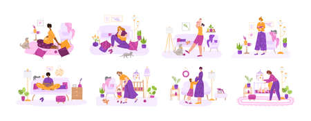 Breast feeding, motherhood, awating for a baby and pregnancy concept - set of vector illustrations with young mothers or pregnant women. Nursing baby, maternity leave - flat cartoon female characters