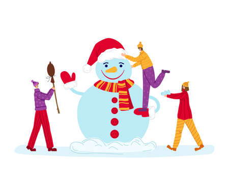 Christmas or New Year greeting card - tiny men and women are making snowman. Winter day outdoor activity for friends, mini people characters flat cartoon - vector composition for card or poster Stock Illustratie