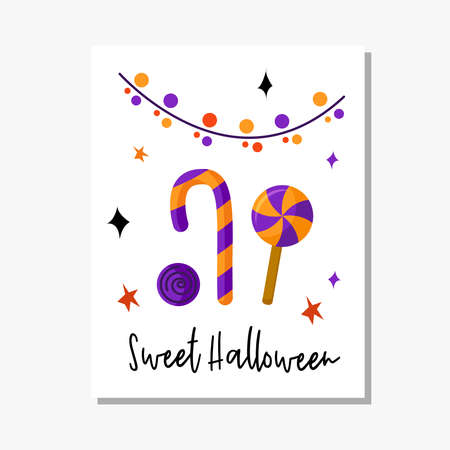 Halloween cartoon greeting card or nursery poster - pattern with lights garland and sweet candy cane and lollipop on white background, copy space for your text, pre-made vector template for print Stock Illustratie
