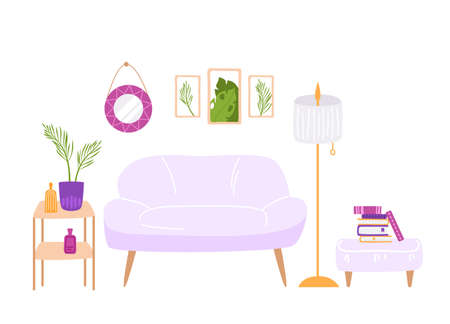 Scandinavian cozy room interior - ottoman, sofa, table, lamp, pictures on the wall and potted house plants and decor elements, modern interior design - vector illustration