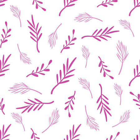 Abstract floral seamless pattern with palm tropical leaves on white background, botanical elements in purple - endless texture for textile, fabric, digital paper or scrapbooking - vector illustration