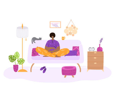 Happy motherhood or maternity concept - Young African American woman is awating for a baby, she seats on sofa in living room. Pregnant girl at home, flat cartoon female character - vector illustration