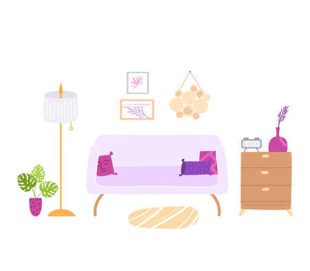 Scandinavian cozy room interior - sofa, chest of drawers, floor lamp, pictures on the wall and potted house plants, modern interior design violet and pink colors - vector illustration