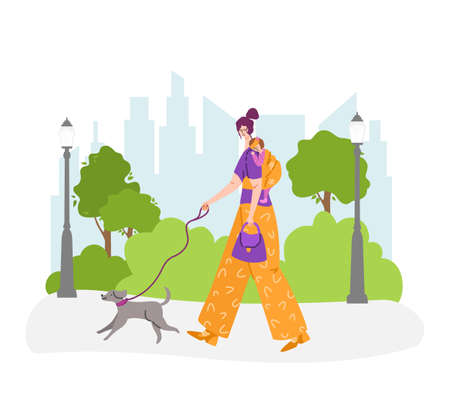 Happy motherhood or maternity concept - woman and little baby on her back in a sling. Yong mother is walking with child and dog in the park outdoors. flat cartoon female character vector illustration Stock Illustratie