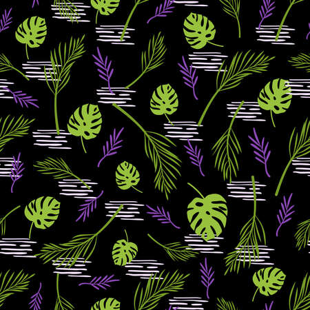 Abstract floral seamless pattern with palm tropical leaves on dark background, botanical elements in purple - endless texture for textile, fabric, digital paper or scrapbooking - vector illustration