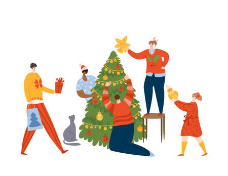 Christmas scene - happy smiling people, friends or family, decorating Christmas Tree with baubles and garland, preparing for New Year celebration, cute characters - vector colorful illustration