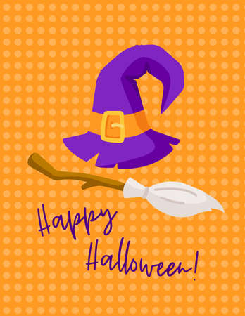 Halloween cartoon greeting card or nursery poster - halloween violet witches hat and broom on orange color background, copy space for your text, pre-made vector template for print