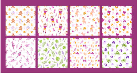 childhood and motherhood theme seamless pattern set - baby or newborn, nipple, foot prints, teddy bear, abstract elements on white background, textures for textile, scrapbooking - vector illustration