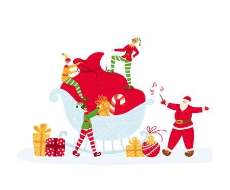 Christmas greeting card - tiny Elves are packing large gift bag, Santa Claus conducts and sings, fairy tale mini characters and bright holidays objects - vector composition for card or poster