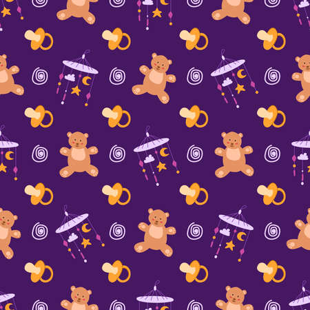 childhood or baby shower theme seamless pattern - nipple, teddy bear, toy, rattle, abstract elements on dark purple background, endless vector texture for nursery textiles or scrapbook