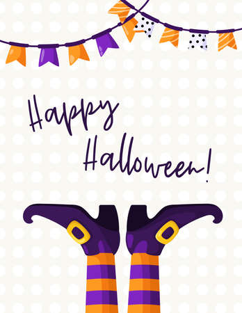 Halloween cartoon greeting card or nursery poster - creepy witches boots and socks with orange and violet strips and flags garland, copy space for your text, pre-made vector template for print