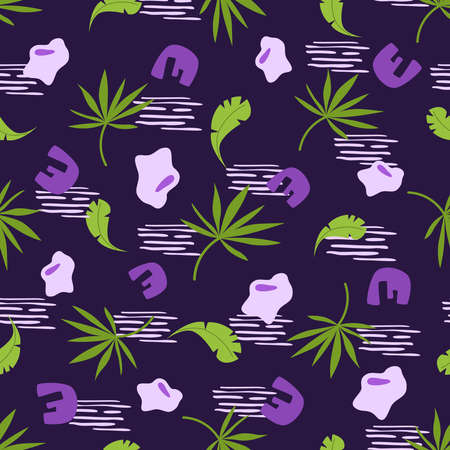Abstract floral seamless pattern with palm leaves and geometric shapes on violet background, botanical and abstract elements - endless texture for textile, digital paper or scrapbooking - vector art Stock Illustratie