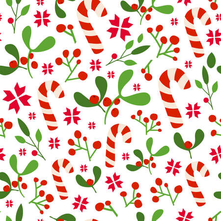 Christmas or New year seamless pattern, floral ornament with mistletoe, holly, candy canes and red berries on white background, traditional holiday symbols - vector texture for textile, wrapping paper