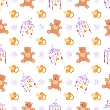 childhood or baby shower theme seamless pattern - nipple, teddy bear, toy, rattle, abstract elements on white background, endless vector texture for nursery textiles or scrapbook