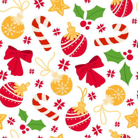 Christmas or New year seamless pattern - candy cane, holly, decorations, red bow on white background, traditional holiday symbols - vector endless texture for textile, wrapping paper, scrapbook