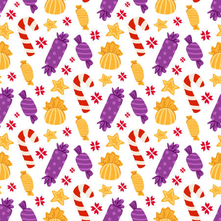 Christmas or New year seamless pattern - candy cane, sweets, candies or lollipops on white background, traditional holiday symbols - vector endless texture for textile, wrapping paper, scrapbook