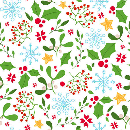 Christmas or New year seamless pattern - holly, mistletoe, green branch and red berries, snowflakes on white background, traditional holiday vector texture for textile, wrapping paper, scrapbook Stock Illustratie
