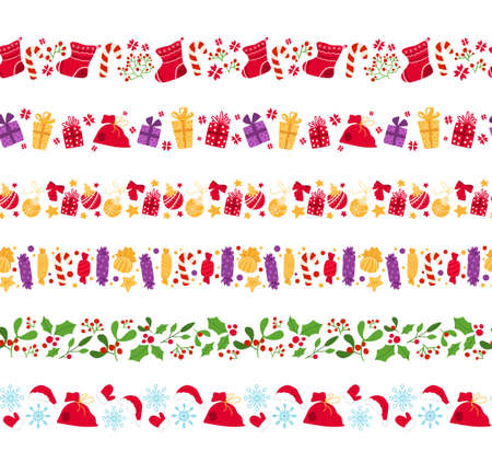 Christmas or New year seamless borders - candy cane, holly, sweets, mistletoe, holly, snowflake on white background, traditional holiday symbols - vector endless texture for wrapping, scrapbook