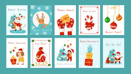 Christmas or New Year greeting cards set - cute cartoon children, Santa Clause, Deer, Tree, snowman, gift boxes, holidays decorations and copy space, place for text in templates - vector illustrations