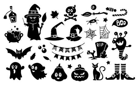 Halloween black silhouettes, kids holiday clipart bundle - witch, witch hat, cat, monster, ghost, spider web, broom, bat, candies, grave and zombie - isolated elements on white background vector