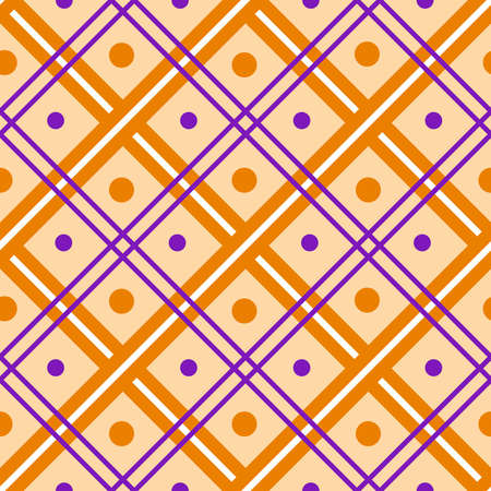 Halloween seamless pattern - abstract geometric ornament in tradition halloween colors - orange, black, purple. Striped or polka dot simple holiday seamless background - vector Stock Illustratie