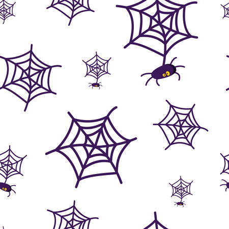 Halloween seamless pattern - scary spider, insect and spider web on white background, traditional halloween symbol, scrapbook digital paper - vector