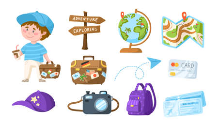Traveling cartoon cute boy with coffee and suitcase - kids travel or vacation clipart bundle, character with globe, air tickets, camera, backpack, isolated elements on white background - vector