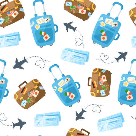 Travel seamless pattern cartoon, travel or vacation theme accessories - suitcase, plane, air tickets on white - vector backgroundor scrapbook digital paper