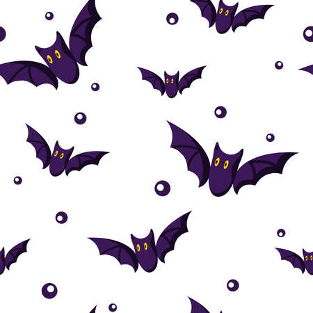 Halloween seamless pattern - scary little black bat vampire on white background, funny traditional halloween animals, textile or scrapbook digital paper pages - vector Stock Illustratie